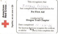 Animal First Aid Card